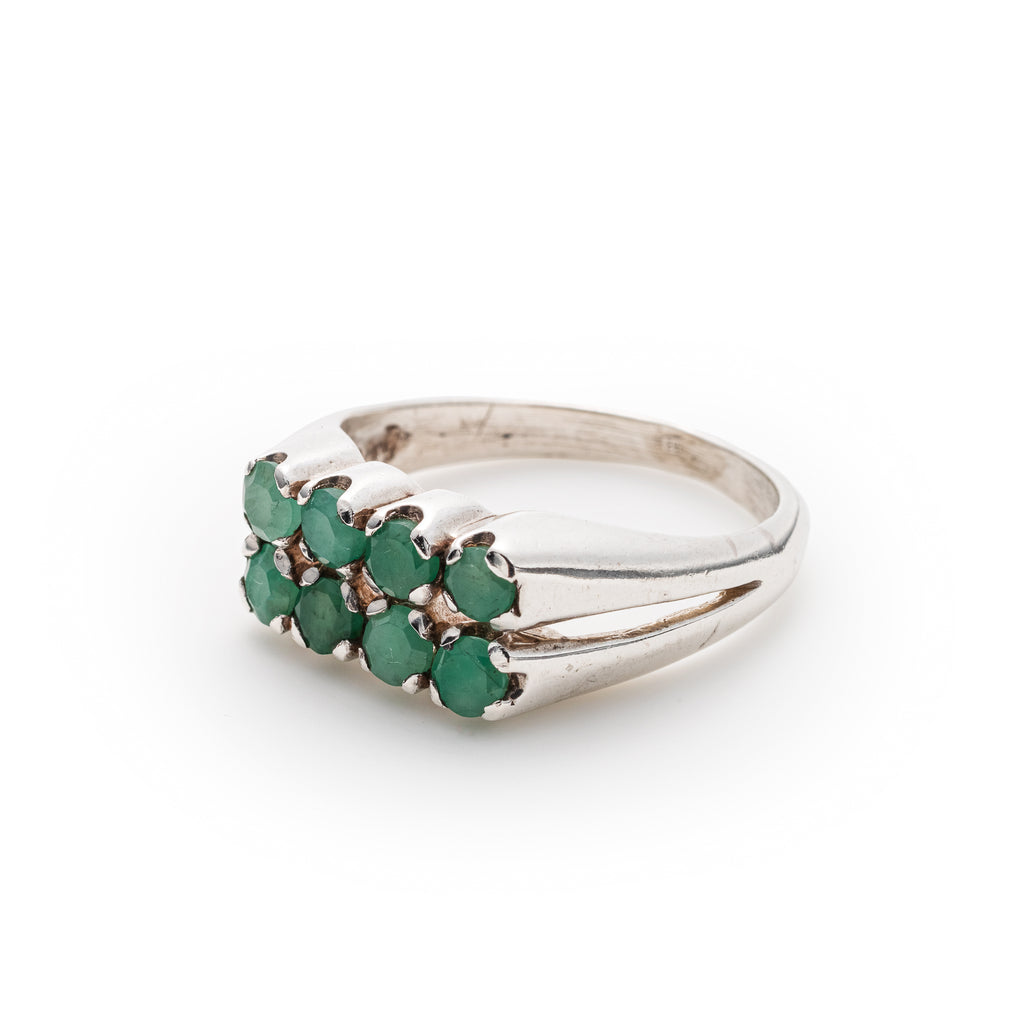 Natural Emerald Ring, May Birthstone, Vintage Double Band design, Solid Silver Ring