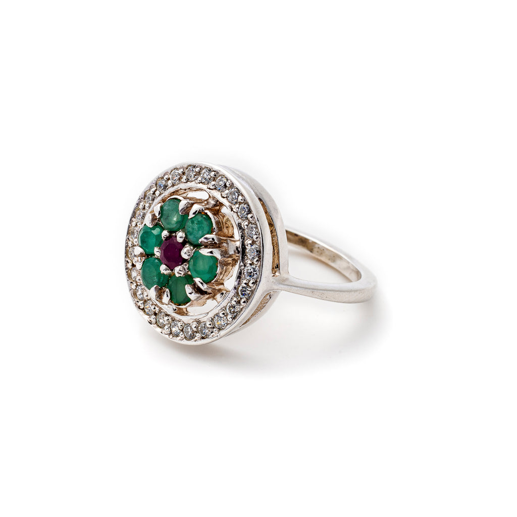 Emerald Ring, Natural Emerald, Natural Emerald Ring, May Birthstone, Ruby Ring, Natural Ruby, July Birthstone,  Solid Silver Ring, Emerald