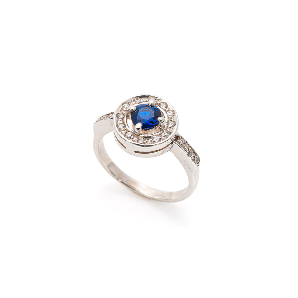 Blue Sapphire Ring, Created Sapphire, Dainty Ring, Royal Blue Ring, Solid Silver
