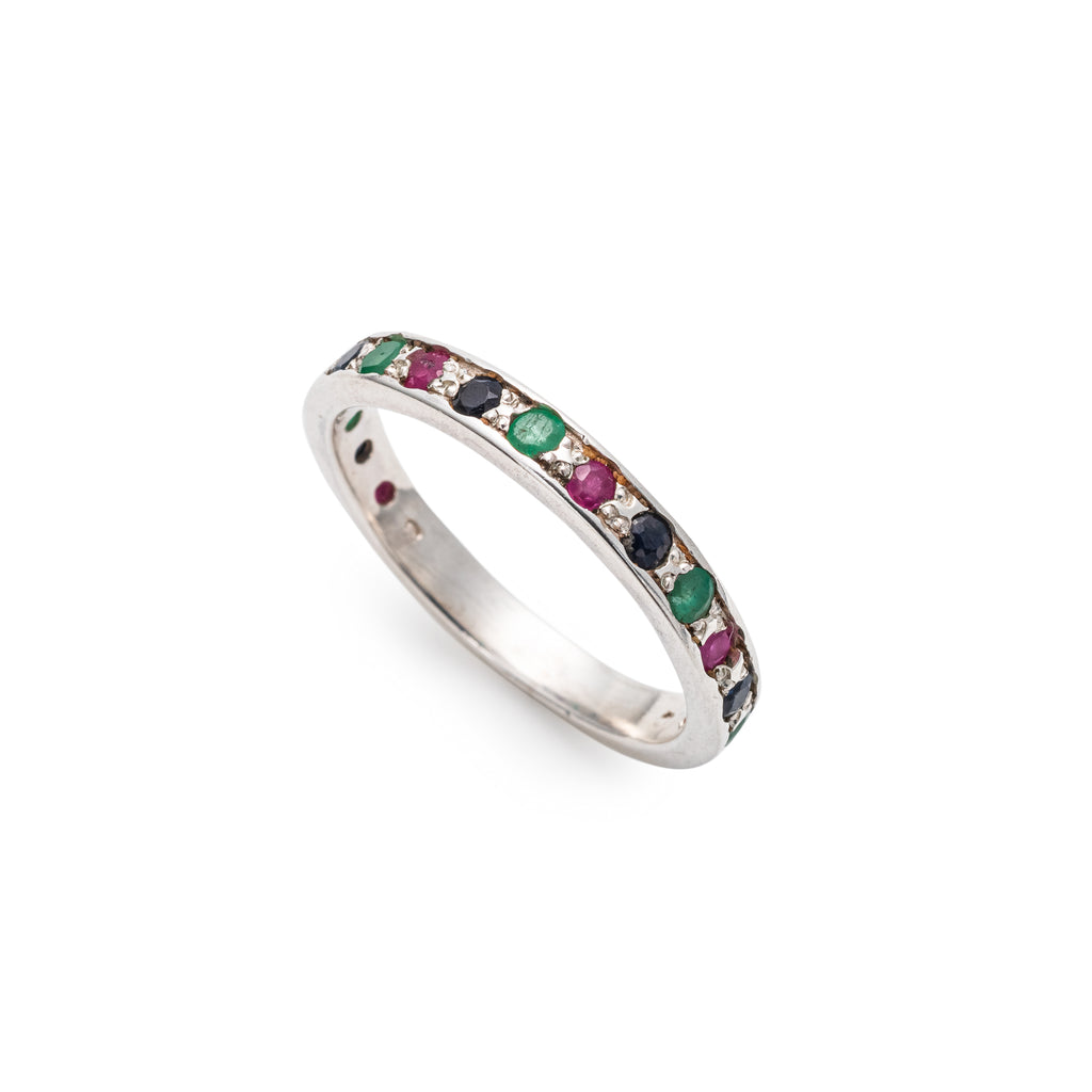 Eternity Ring, Birthstone Ring, Stackable Band - Solid Silver Ring, Emerald, Ruby, Sapphire