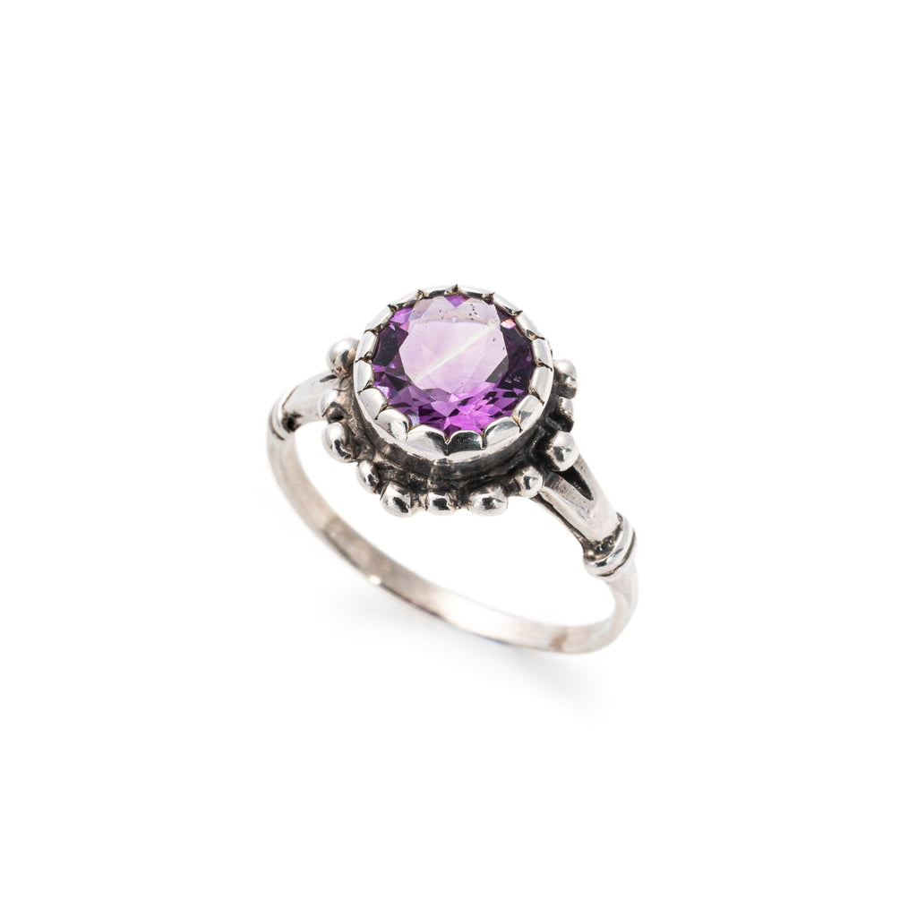 Amethyst Ring, Natural Amethyst, February Birthstone, Vintage Design, 3 Carats, Purple Ring, Solid Silver Ring