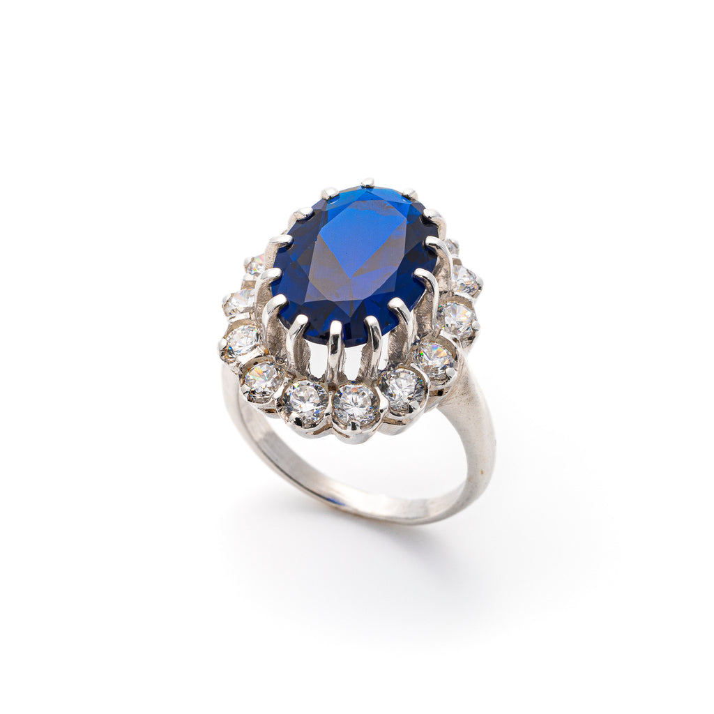 Blue Sapphire Ring, Created Sapphire, Princess Di Ring, Royal Blue Ring, Anniversary Ring, Solid Silver