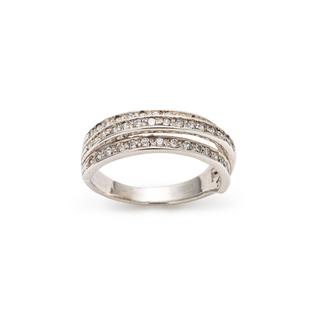 Triple Band Ring, Diamond Band, CZ Diamonds, Wide Band, Solid Silver, Stackable