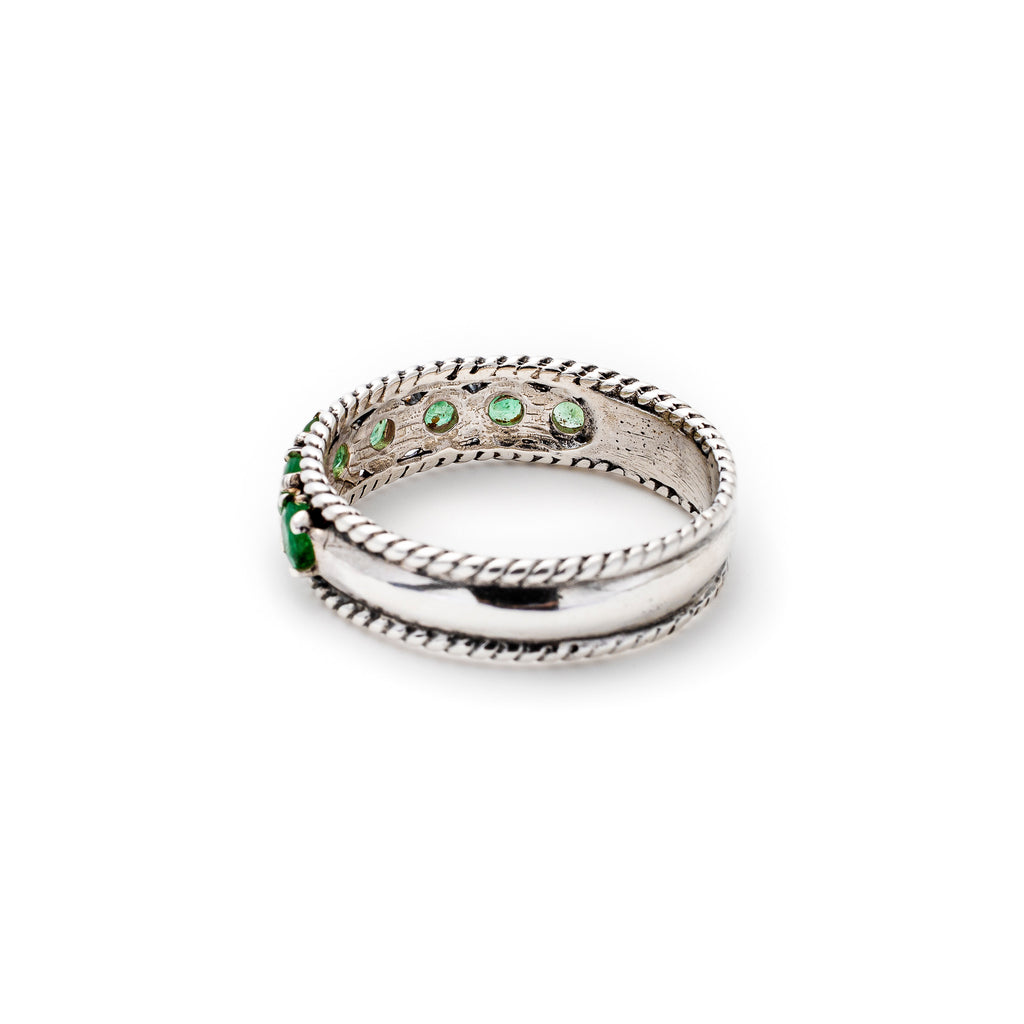 Vintage Emerald Band, Natural Emerald, May Birthstone, Half Eternity Ring, Solid Silver
