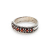 Half Eternity Band, Natural Garnet, January Ring, January Birthstone, Vintage Silver Band