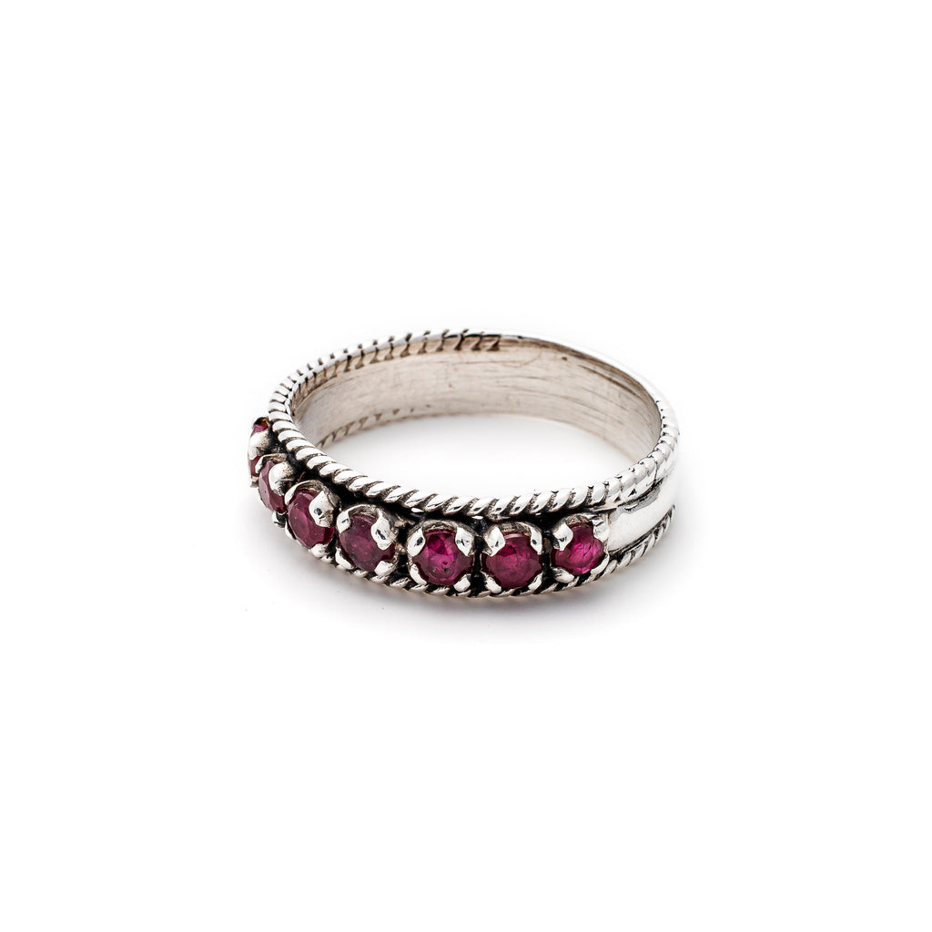 Ruby Band, Natural Ruby, July Birthstone, Vintage Band, Half Eternity Band, Solid Silver