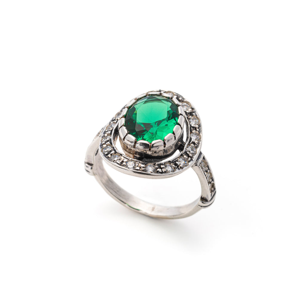 Antique Emerald Ring, Created Emerald, Victorian Style, Vintage Ring, Solid Silver