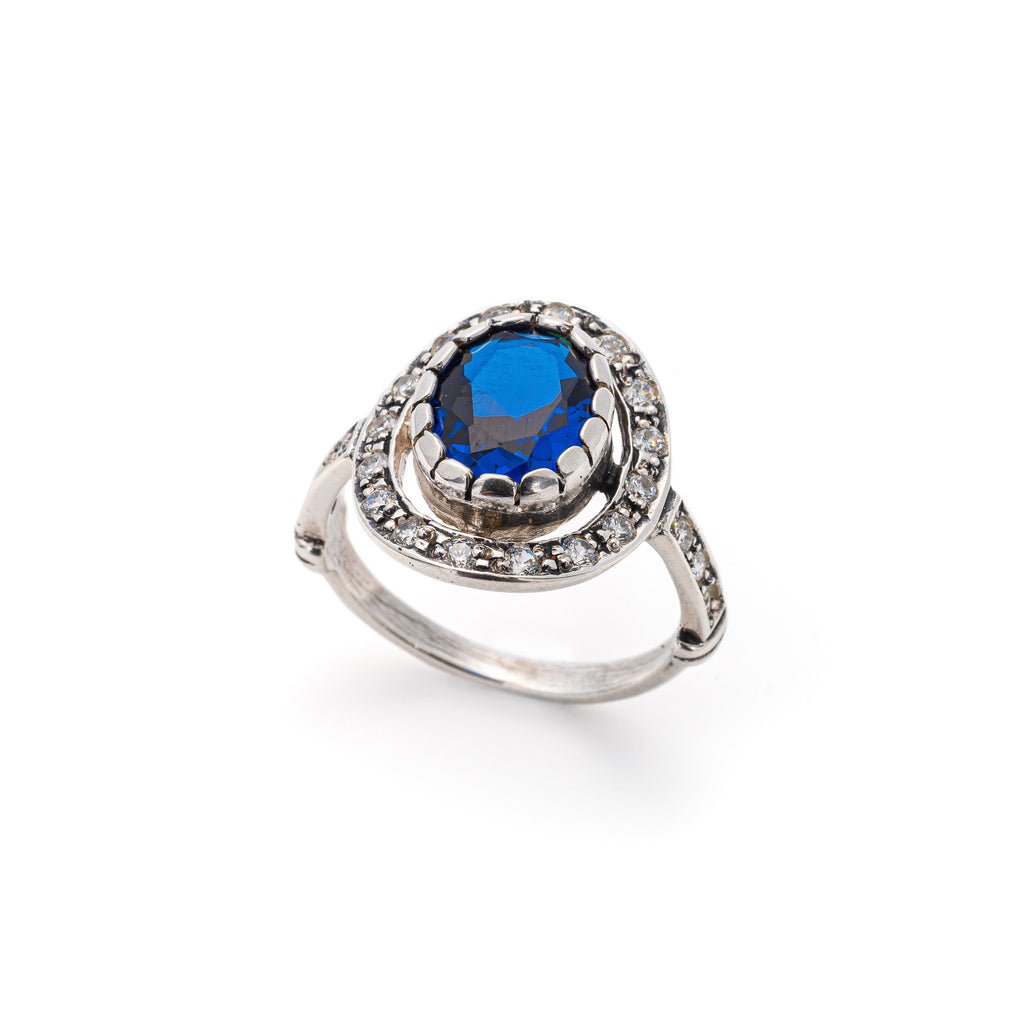 Vintage Sapphire Ring, Created Sapphire, Antique Blue Rings, Solid Silver