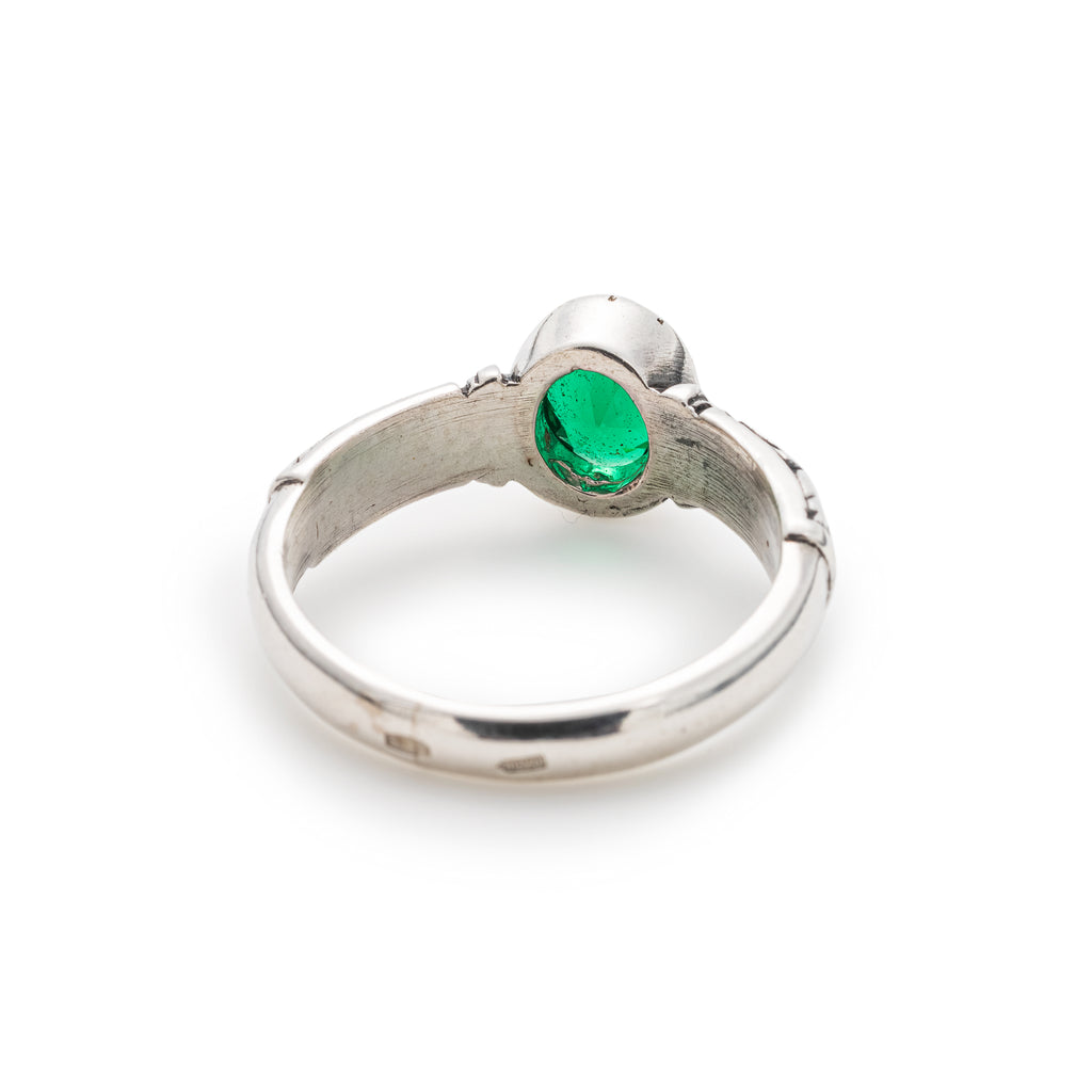Tribal Emerald Ring, Created Emerald, Vintage Design, Solid Silver