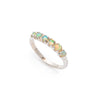 Fire Opal Band, Ethiopian Opal, Half Eternity Ring, Stackable Ring, Solid Silver