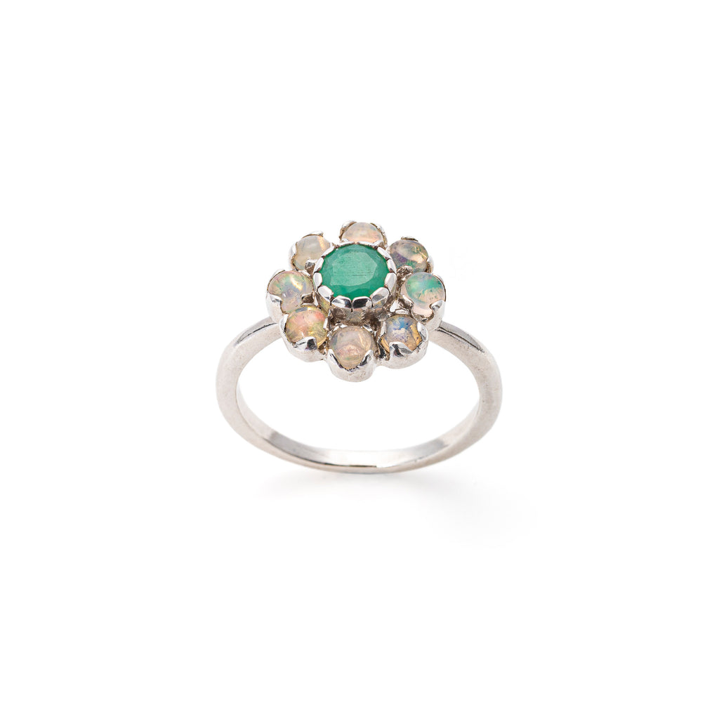 Vintage Flower Ring, Emerald Ring, Opal Ring, Natural Emerald, Natural Ethiopian Opal, October Birthstone, May Birthstone, Solid Silver