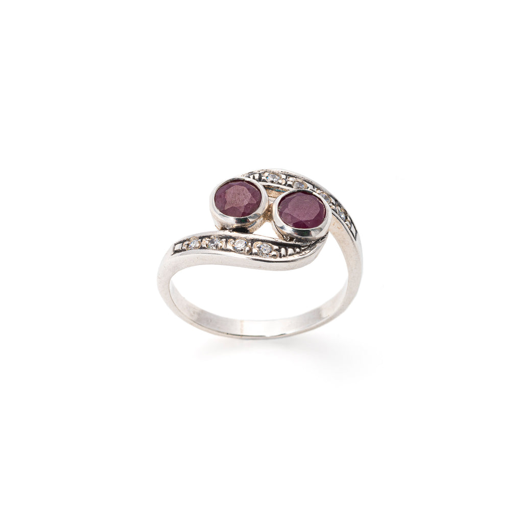 Vintage Ruby Ring, Natural Ruby, July Birthstone, 2 Stones Ring, Solid Silver, Antique Style