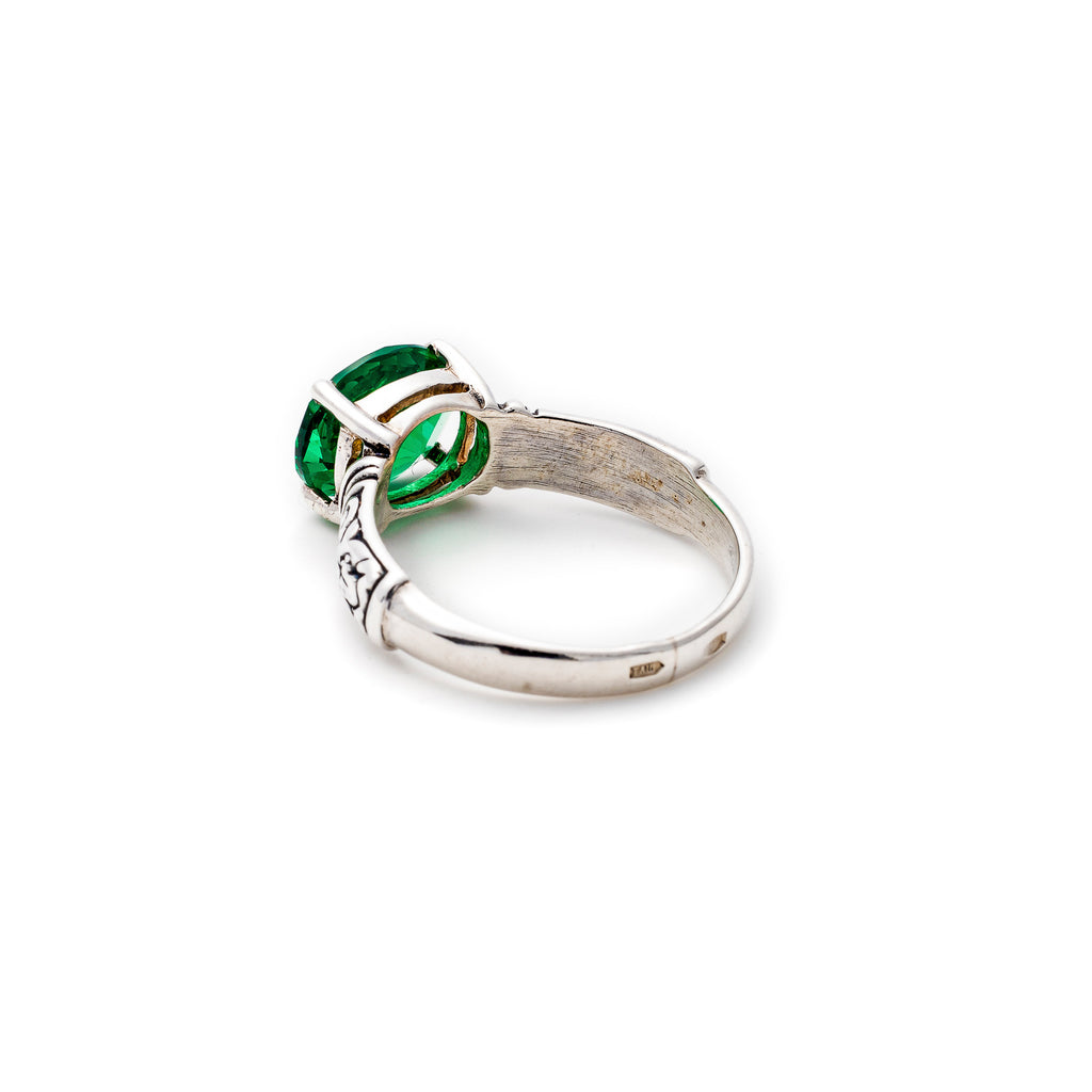 Tribal Emerald Ring, Created Emerald, Horizontal Ring, Vintage Ring, Solid Silver
