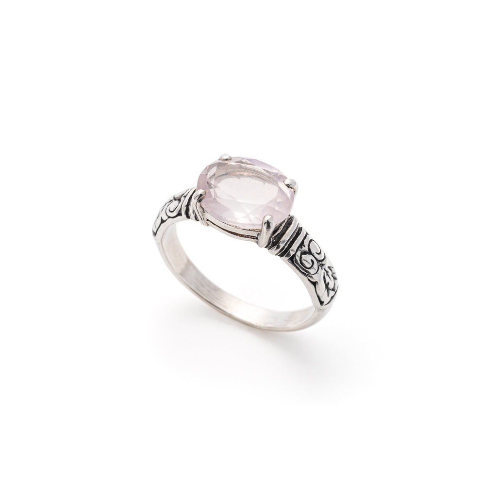 Rose Quartz Ring, Natural Rose Quartz, Tribal Design, January Birthstone, Solid Silver