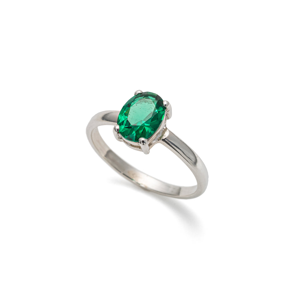 Emerald Ring, Created Emerald, Solitaire Ring, Green Vintage Ring, Promise Ring, Solid Silver