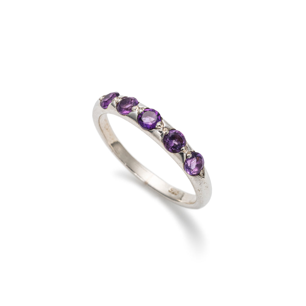 Amethyst Stackable Ring, Natural Amethyst, February Birthstone, Half Eternity Band, Solid Silver