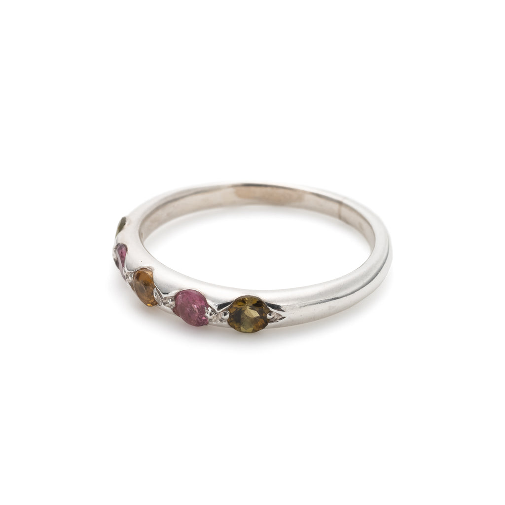 Tourmaline Band, Natural Tourmaline, Stackable Ring, Half Eternity Ring, October Birthstone, Silver Ring