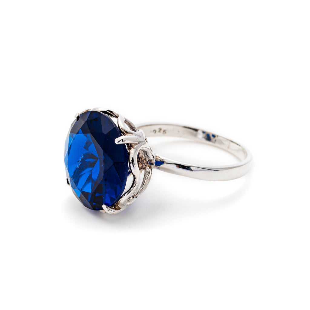 Blue Sapphire Ring, Created Sapphire, 15 Carats, Large Sapphire Ring, Statement Ring, Vintage Ring, Solid Silver