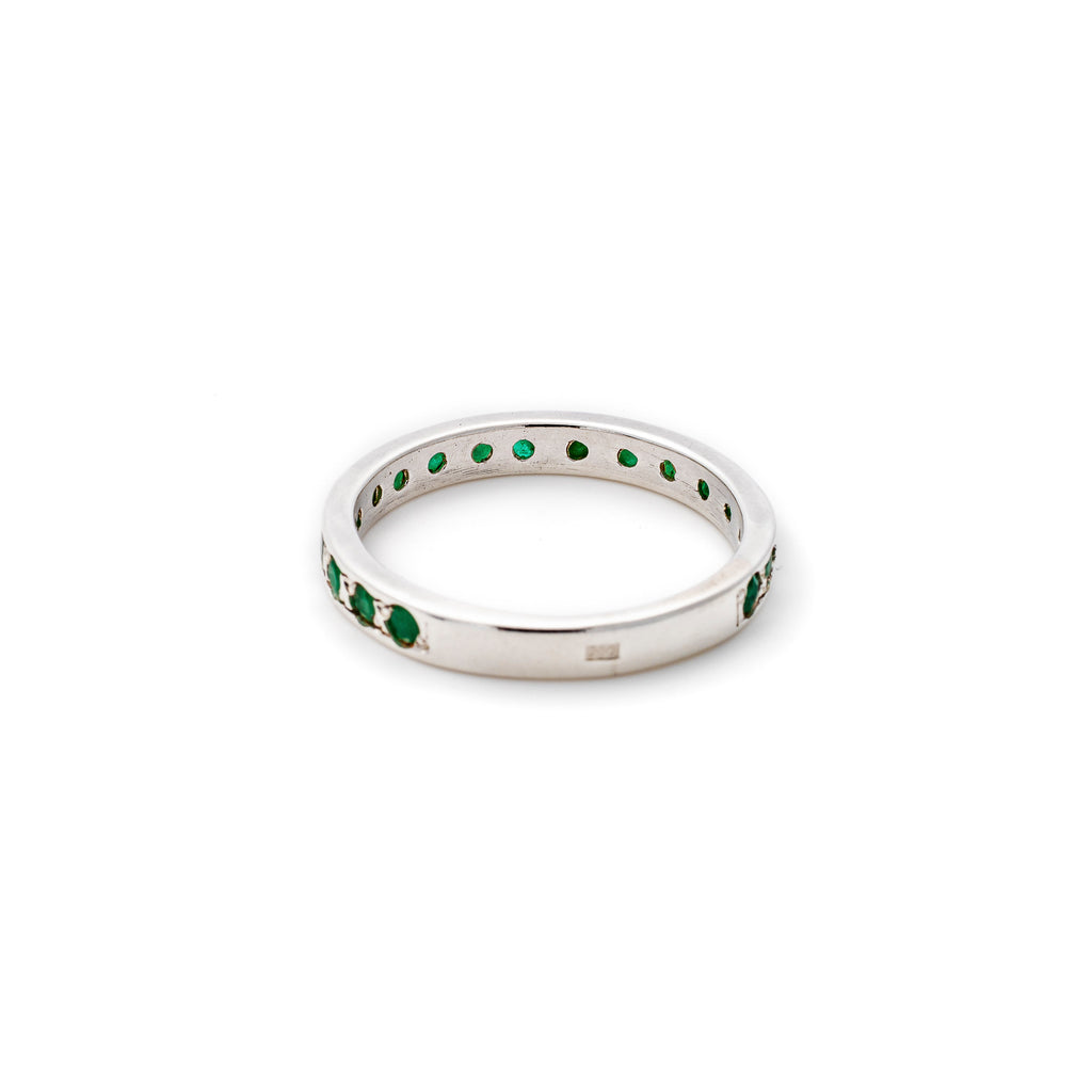Emerald Eternity Ring, Natural Emerald, May Birthstone, Real Emerald Band, Vintage Band, Solid Silver
