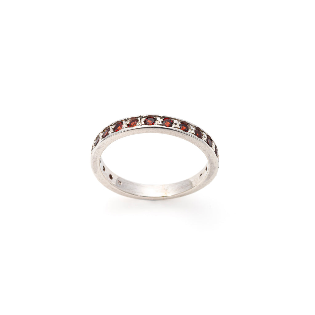 Garnet Ring, Eternity Band, Natural Garnet, January Birthstone, Solid Silver