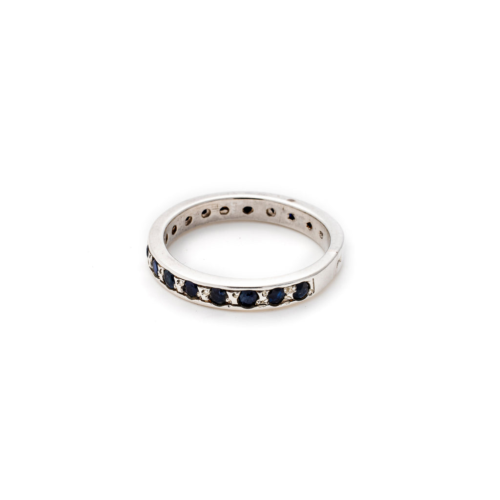 Sapphire Band, Natural Sapphire, Eternity Ring, September Birthstone, Vintage Band, Solid Silver
