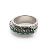 Wide Emerald Band, Natural Emerald, May Birthstone, Double Bezel Band, Solid Silver