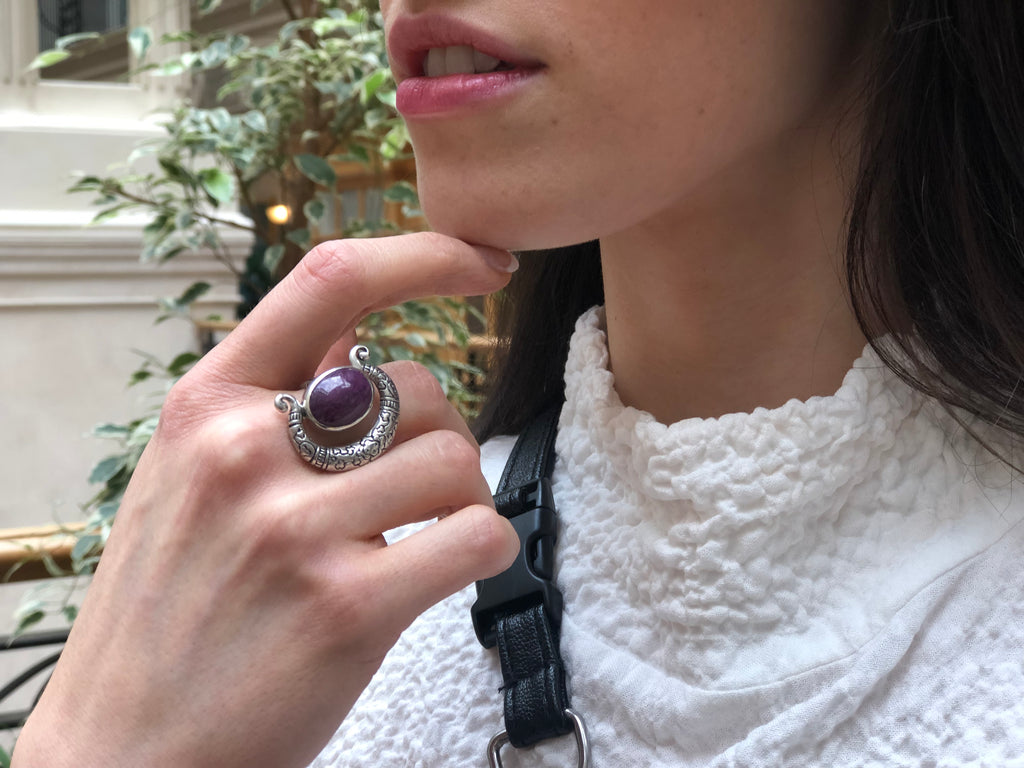 Tribal Ruby Ring, Natural Ruby Ring, Statement Ring, July Birthstone, Solid Silver Ring