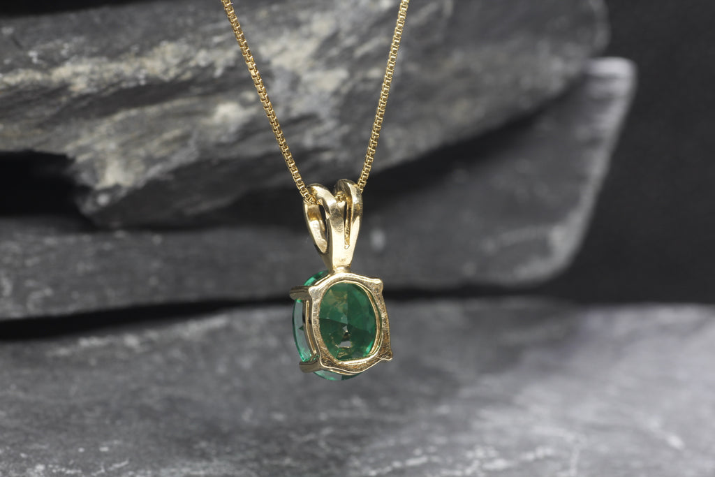 Gold Emerald Pendant, Created Emerald, Green Oval Pendant, Gold Plated Pendant, Emerald Necklace, Dainty Green Pendant, Gold Vermeil Pendant