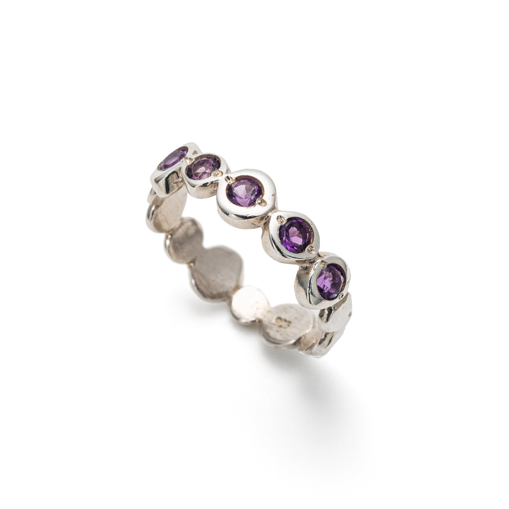 Amethyst Bubble Band, February Birthstone Ring, Solid Silver
