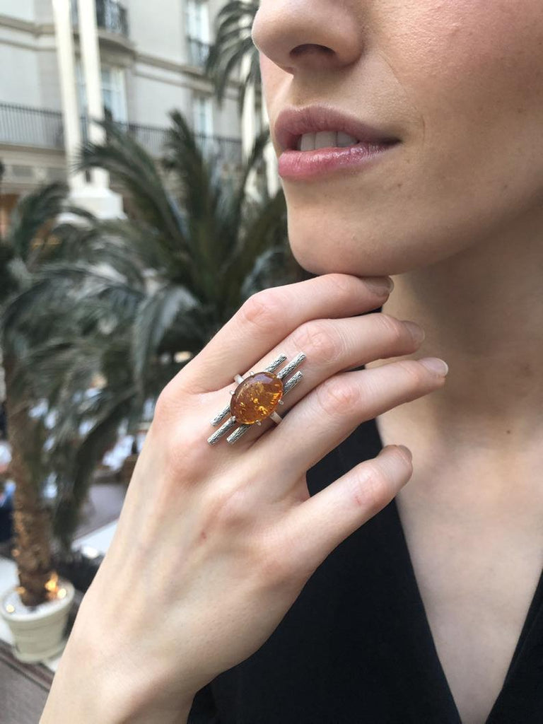 Long Amber Ring, Nordic Vintage Design, Solid Silver