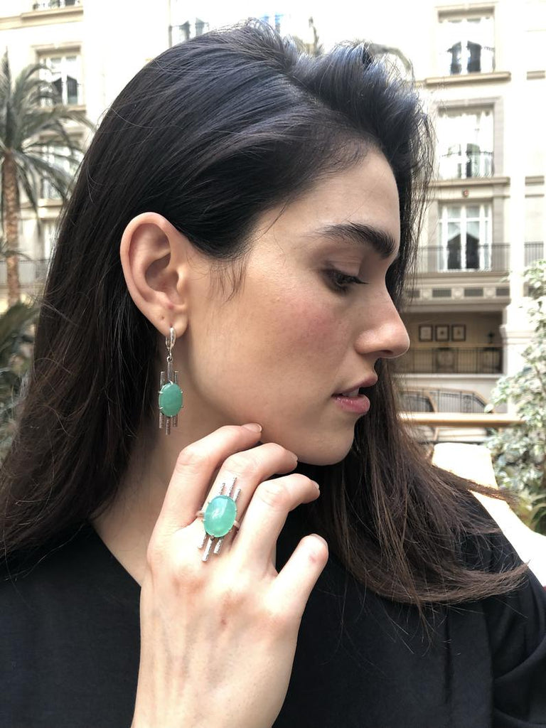 Chrysoprase Ring, Green Boho Ring, Solid Silver, Nordic Design, Long Ring
