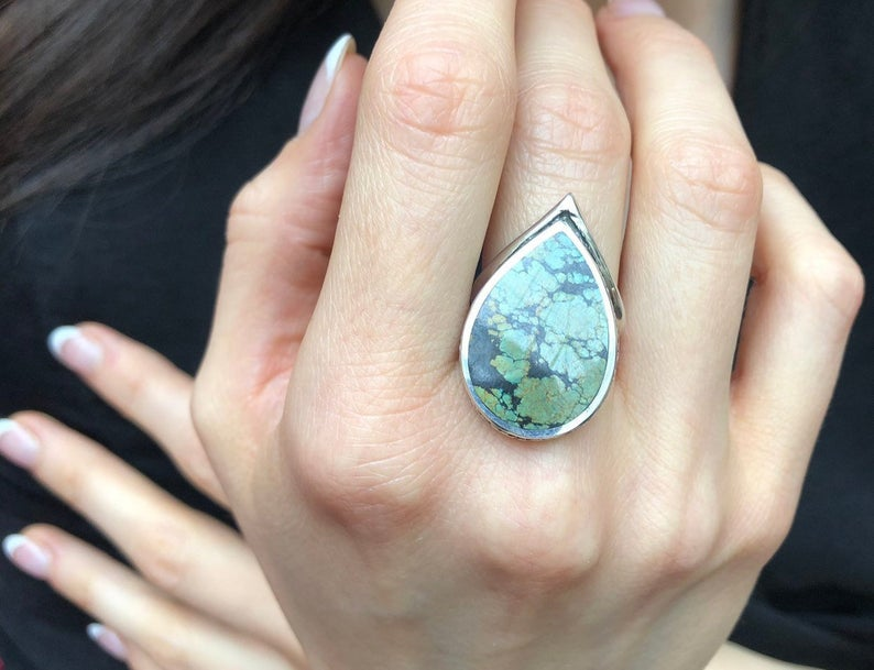 Turquoise Ring, Natural Turquoise, Teardrop Design, December Birthstone, Vintage Statement Ring