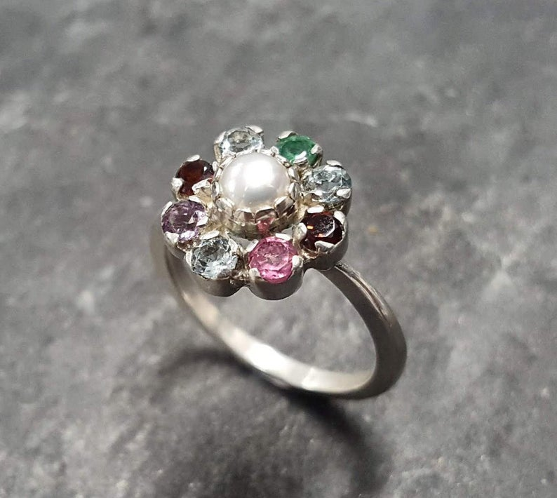 Mother's Ring, Birthstone Ring, Customizable Ring, Children Ring, DIY Custom Made Ring, Solid Silver Ring, Flower Ring
