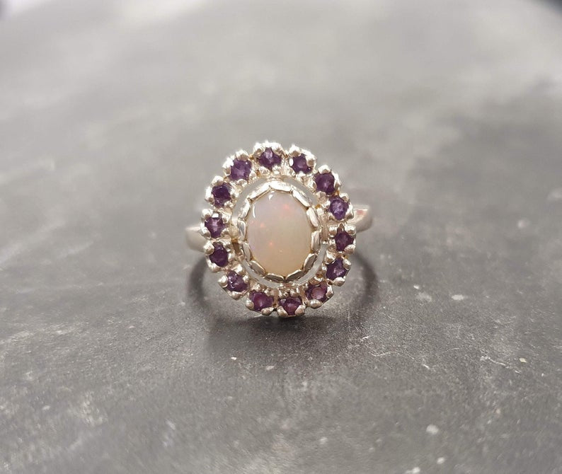 Victorian Opal Ring, Natural Precious Opal, Amethyst Ring, October Birthstone, February Birthstone, Silver Vintage Ring, Solid Silver Ring