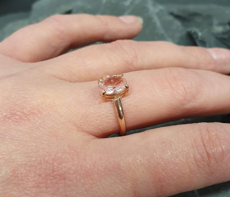 Rose Gold Morganite Ring, Created Morganite, Morganite Ring, Solitaire Ring, Rose Gold Ring, Vintage Ring, Pink Diamond Ring, Silver Ring