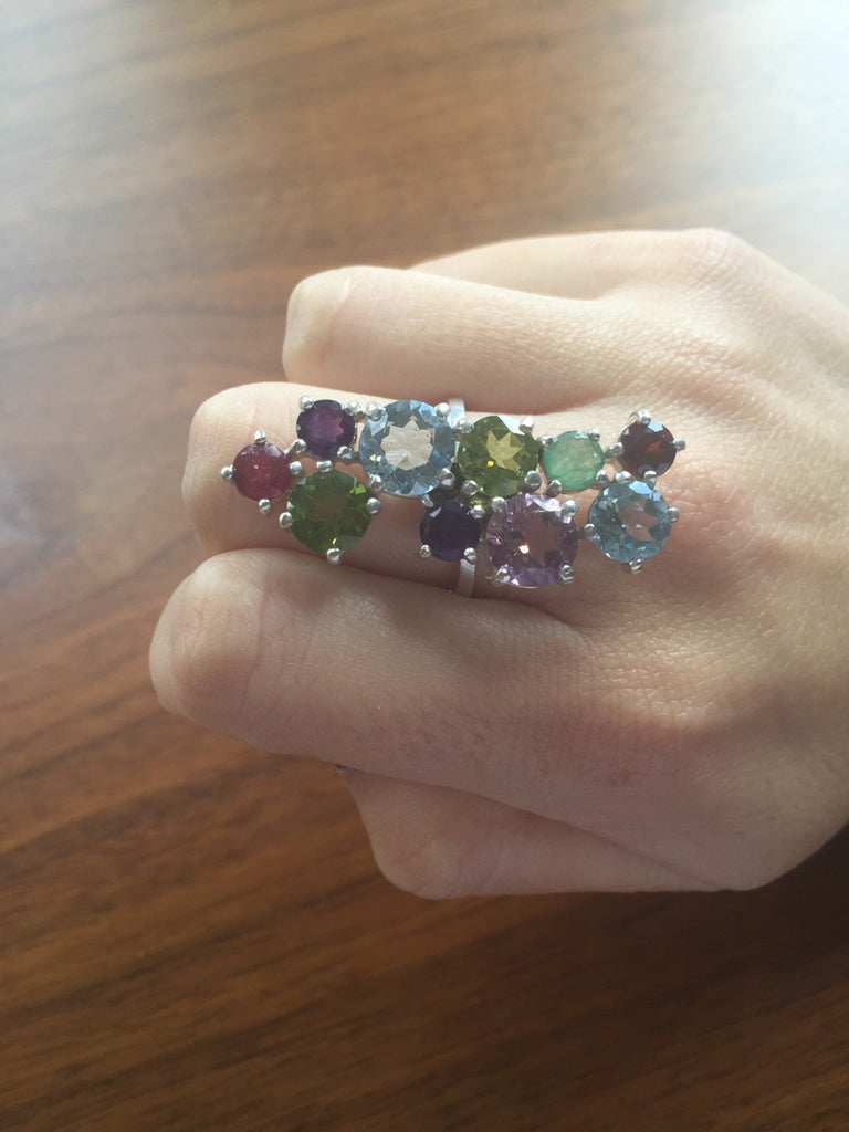 Topaz Ring, Natural Topaz, Statement Ring, Emerald Ring, Ruby Ring, Precious Gems, Multicolor Ring, Healing Stones, Solid Silver Ring