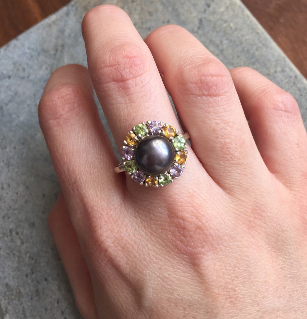 Black Pearl Ring, Birthstone Ring, Natural Pearl, Topaz Ring, June Birthstone Ring, Amethyst, Citrine, Peridot, Solid Silver