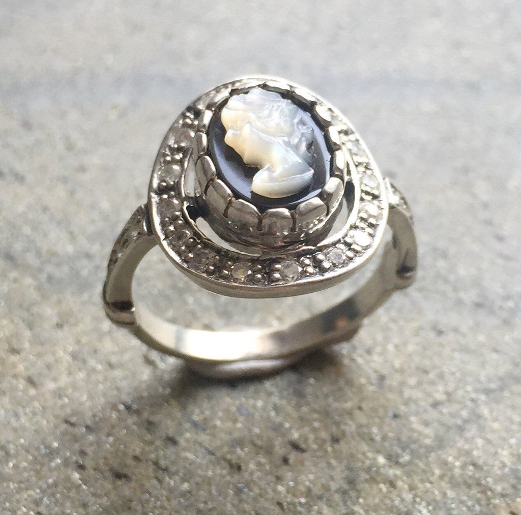 Cameo Ring, Roman Ring, Vintage Rings, Antique Ring, Vintage Ring, Sterling Silver Ring, Roman Jewelry, Matching Set, Shell Ring, Lady Ring
