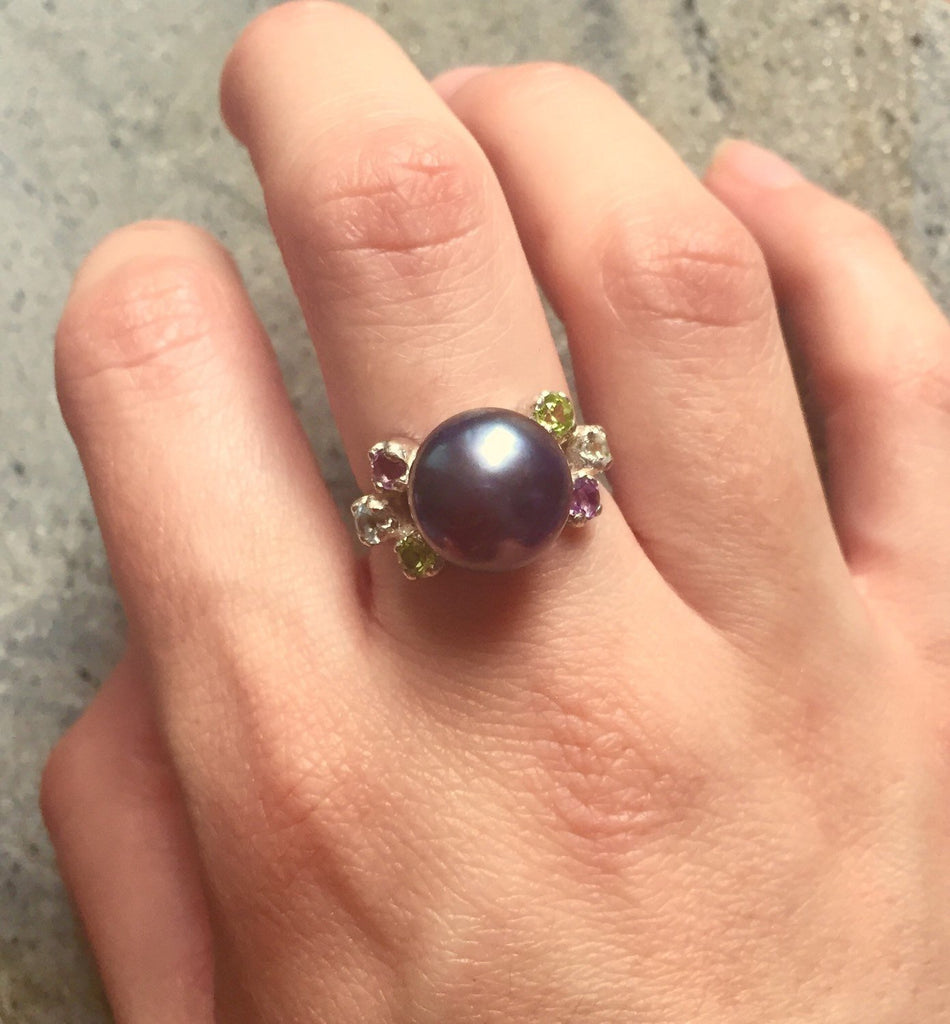Black Pearl Ring, Natural Pearl, Pearl Ring, Vintage Rings, Antique Ring, Blue Topaz Ring, Peridot Ring, Amethyst Ring, Solid Silver Ring