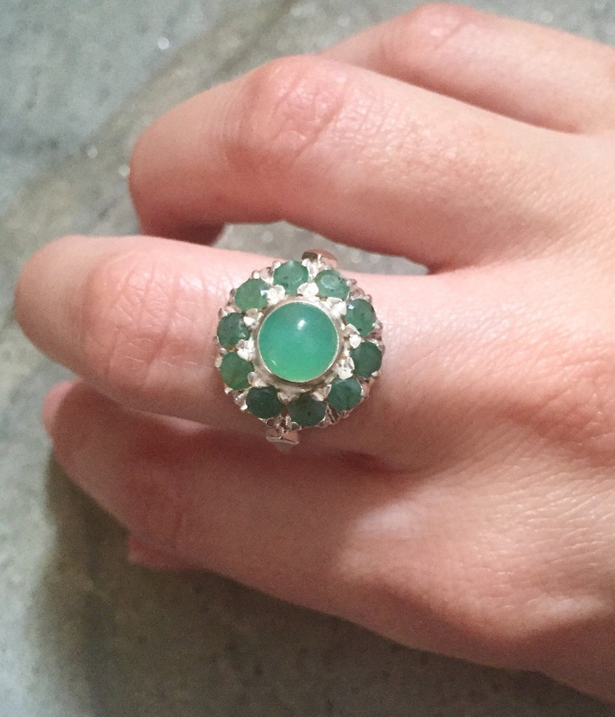 Emerald Ring, Natural Emerald, Chrysoprase Ring, Antique Ring, Vintage Ring, Vintage Emerald Ring, Natural Stones, Sterling Silver Ring