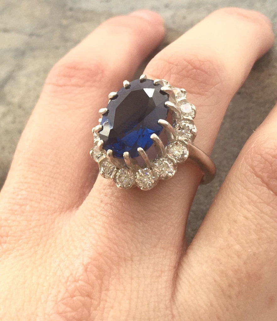 Blue Sapphire Ring, Created Sapphire, Blue Sapphire, Princess Di Ring, Royal Blue Ring, Blue Ring, Promise Ring, Anniversary Ring, Sapphire