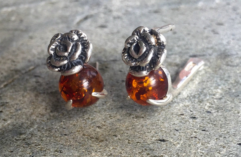 Flower Earrings, Amber Earrings, Silver Flower Earrings, Natural Amber, Vintage Amber Earrings, Genuine Amber, Solid Silver, Healing Stones
