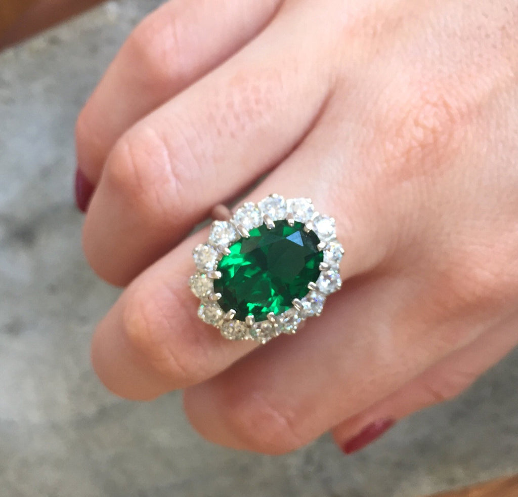 Princess Di Ring Created Emerald Solid Silver Victorian Style