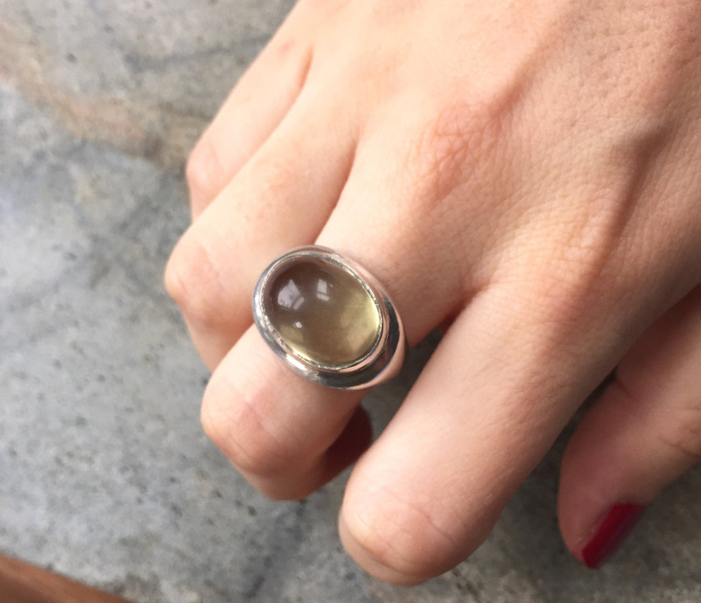 Lemon Quartz Ring, Lemon Quartz, Natural Stone, Yellow Stone Ring, Large Stone Ring, Solid Silver Ring, Pure Silver, H Stern Ring