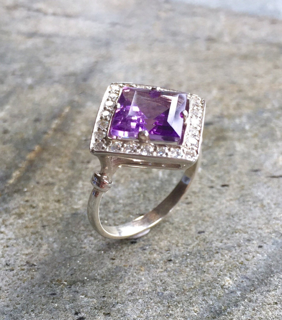 Amethyst Ring, Natural Amethyst, Vintage Amethyst Ring, Square Ring, Vintage Rings, Antique Ring, Purple Diamond, Natural Stone, Pure Silver