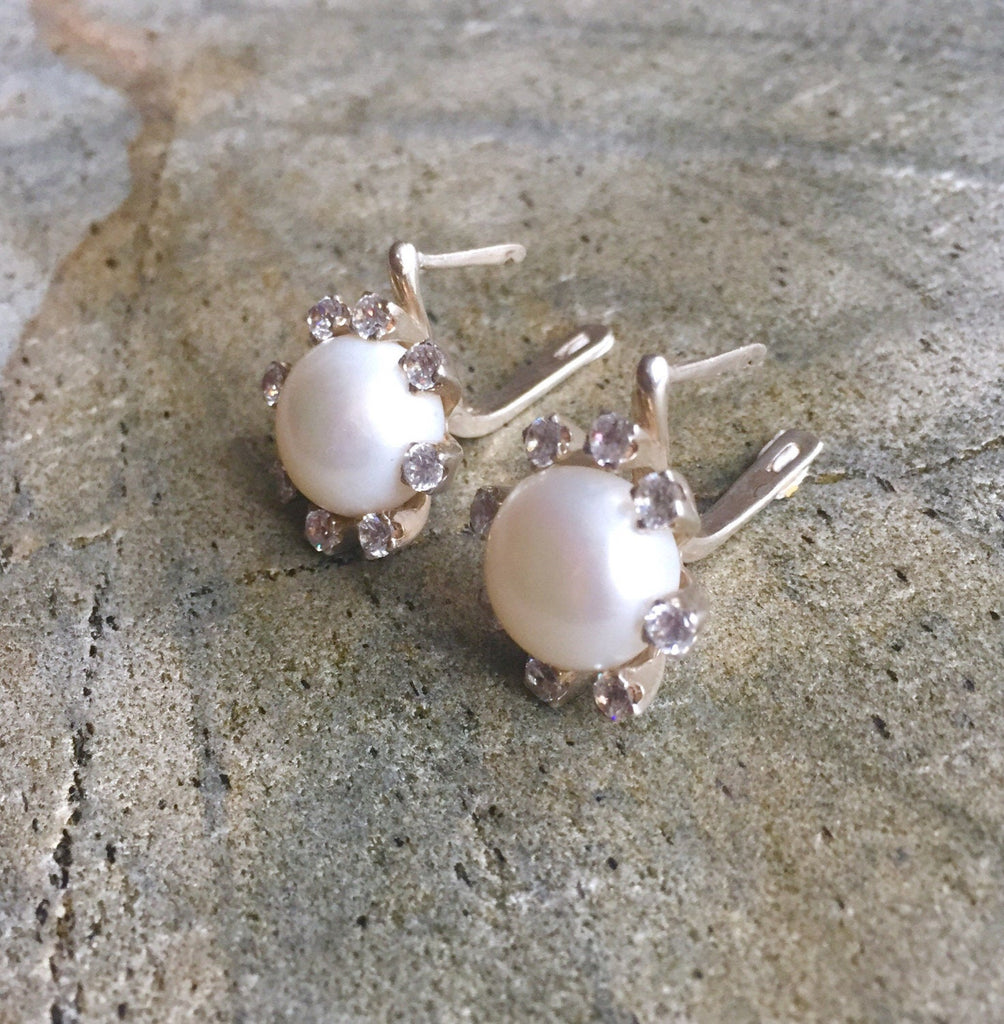 Pearl Earrings, Natural Pearl, Vintage Pearl Earrings, Antique Earrings, Pearl and Diamond, CZ Diamonds, Pure Silver, Silver Earrings