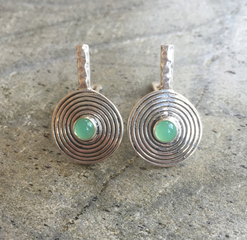 Chrysoprase Earrings, Australian Chrysoprase, Natural Chrysoprase, Infinity Earrings, May Birthstone, Round Silver Earrings, Solid Silver