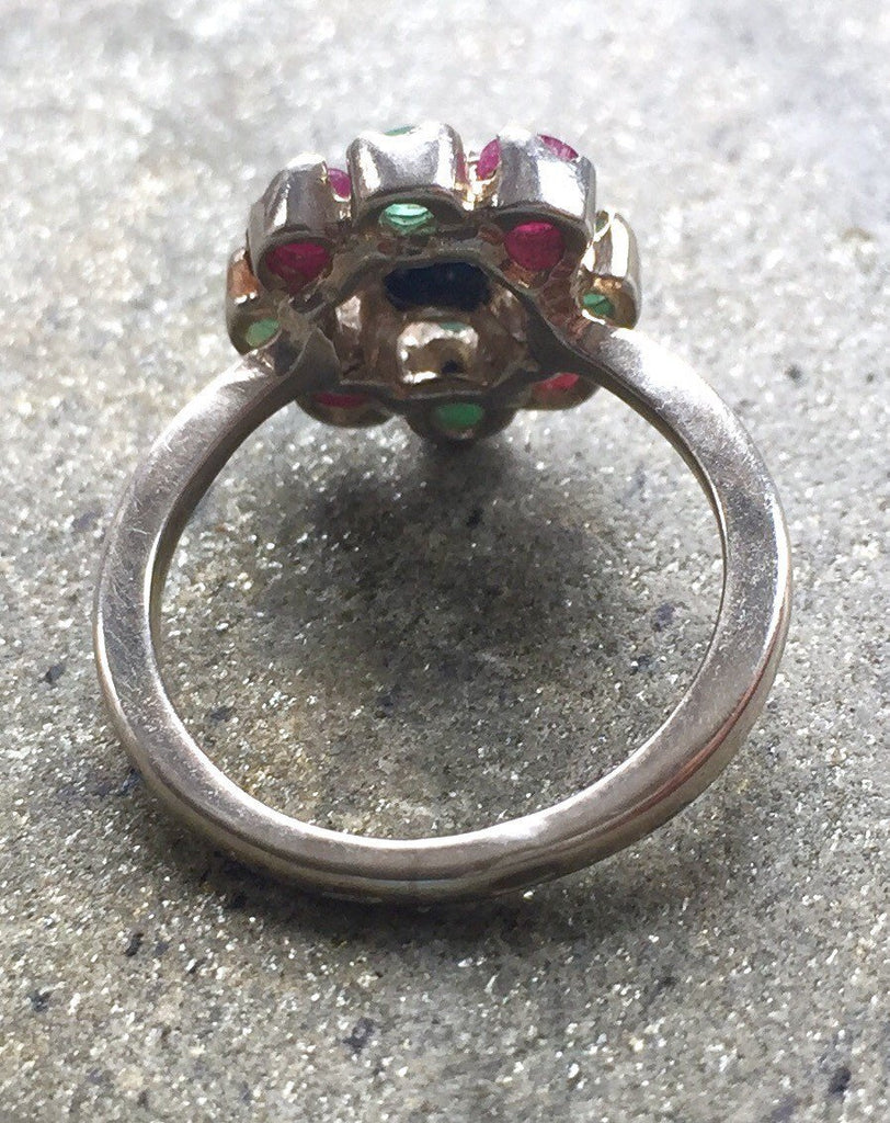 Flower Ring, Sapphire Ring, Natural Sapphire, Antique Sapphire Ring, Vintage Ring, September Birthstone, Natural Emerald, Solid Silver Ring