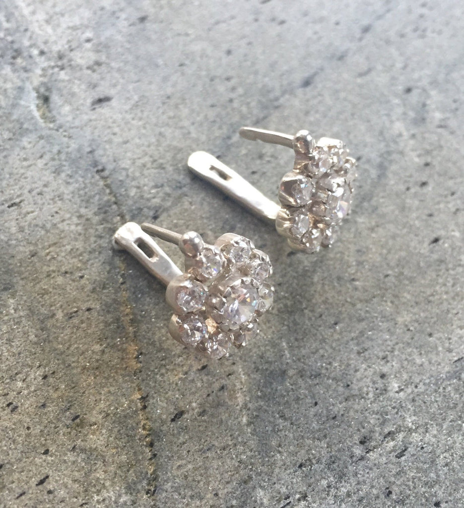 Vintage Earrings, Vintage Flower, Vintage Diamond Earrings, CZ Diamonds, 2 Carats Diamonds, Antique Earrings, Solid Silver, Pure Silver