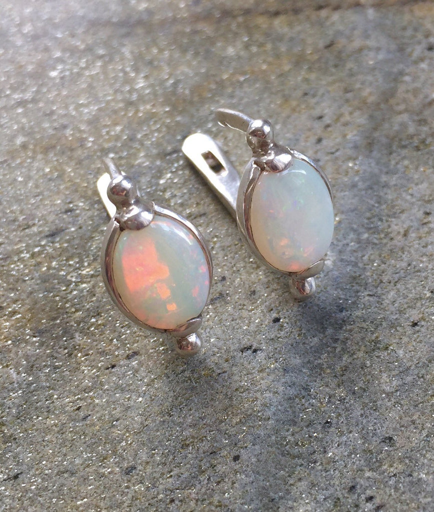 Opal Earrings, Natural Opal Earrings, Australian Opal, Natural Opal, Vintage Opal, Vintage Earrings, Antique Opal, Solid Silver Earrings
